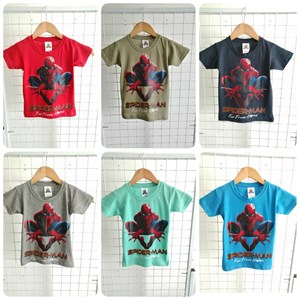 T-Shirt Boy Short Sleeve Spiderman Action: Size 2-8 (1 - 6 tahun)