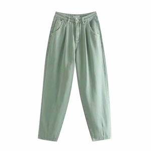 PLEATED LOOSE HIGH WAIST BAGGY JEANS IN LIGHT GREEN