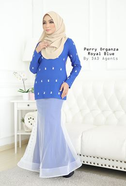 Kurung Perry Organza Royal Blue