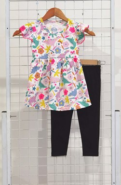 [SIZE 3/4Y] Girl Set Frock : COLORFUL DINO FLOWER WHITE WITH BLACK PANT (1y - 6y) SPG
