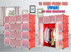 Plain Red 16 Cube DIY Wardrobe (FR16R)