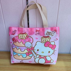 Cartoon Canvas Bag - HELLO KITTY DONUT  ( Size: Height 22cm* Width 30cm* )