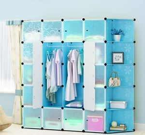 20Cube Blue Flower Wardrobe with Corner Shelf (F20BCR)