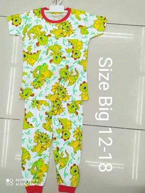 Pyjamas DINO DRAGON WHITE :  BIG Size 12 -14