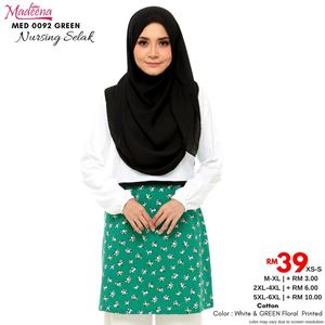 Madeena MED 0092 Nursing Shirt (Nursing Selak)  White with GREEN