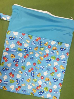 Wetbag For Cloth Diapers - Double Zip  (Travel Bunny)