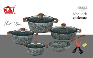 K&I Granite Cookware 12pcs (Periuk Batu)