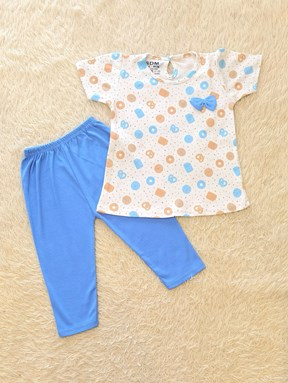 [SIZE 12/18M - 30/36M] Baby Girl Set : PRETZEL PASTRY WHITE WITH BLUE PANT (12m - 36m) SDM