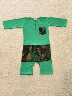[SIZE 12M - 24M] Baju Melayu Rompers Green with Army Sampin