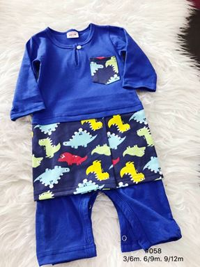 Rompers Baju Melayu ( Royal Blue with Dinosaur Sampin )