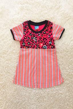 Happy Kids Dress : Stripes Pink Leopard (size 1/2)