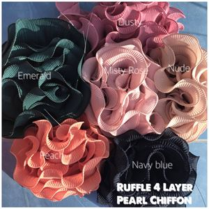 PLEATED RUFFLES 4 LAYER Chiffon