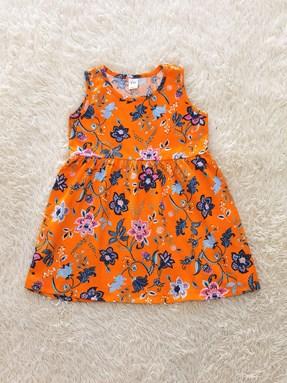 [SIZE 3Y - 6Y] Kids Dress FLORAL ORANGE TW