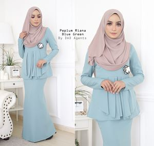 Peplum Riana Pleated Blue Green