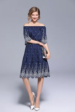 Embroidery Off Shoulder Navy Dress