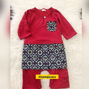 Rompers Baju Melayu ( 9MTH - 2YRS) Chili Red with Black Abstract Sampin