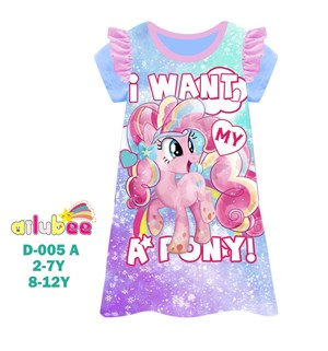 @  AILUBEE  PONY  DRESS  SLEEPWEAR ( D005-A  ) SZ  2Y - 12Y