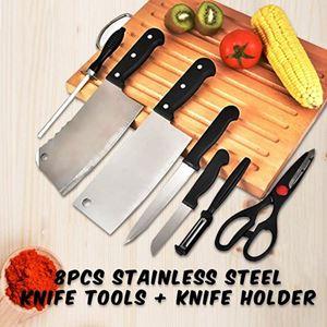 8pcs STAINLESS STEEL KNIFE TOOLS + KNIFE HOLDER ETA 25 JAN 19