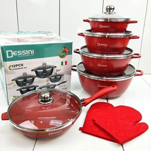 12 PCS Dessini Italy Non Stick Cooking Set