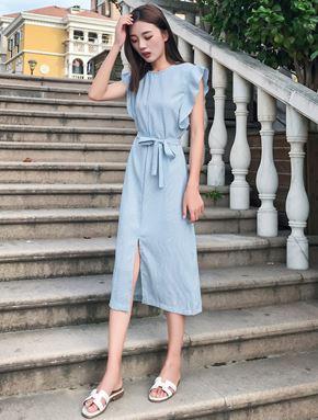 Blue Stripe Dress (Large Size)