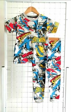 Pyjamas BATMAN SUPERMAN GREY : BABY size 12m -18m (MYSHA)