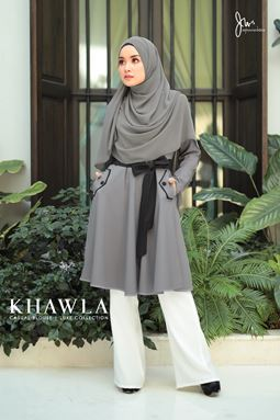 KHAWLA CASUAL BLOUSE 03 (Soft Grey)