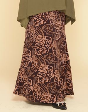 Adelia Skirt Printed : Brown Leaves