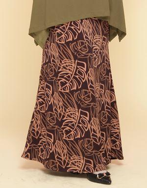 Adelia Skirt Printed : Brown Leaves