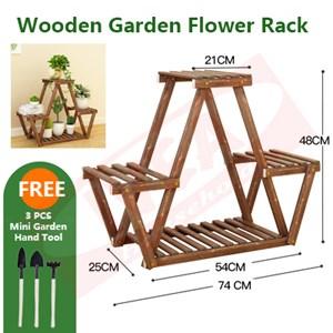 Balcony Plant Storage Rack Solid Wood Multi-Layer Indoor Flower Pot Rack garden
