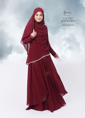 Jubah Ammara For Her (Crimson Red)