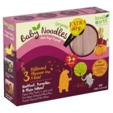Love Earth Organic Baby Noodles Beetroot, Pumpkin & Plain Wheat 7+ Months 6 x 30g (180g) + Extra 60g