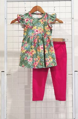 [SIZE 1/2Y] Girl Set Frock : TROPICAL FLOWER GREEN WITH HOT PINK PANT (1y - 6y) SPG