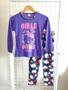 Pyjamas PLAIN HELLO KITTY GIRLS FUTURE Purple - Long Sleeve (Dewasa) 2XL