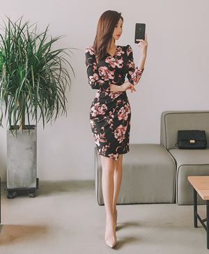 OL V-neck Slim Floral Dress
