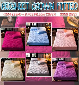Plain Bedsheet Crown Fitted (King Size 1.8m & Queen Size 1.5m)