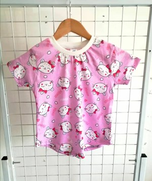 T-Shirt Short Sleeve Ribbon Cat Meow Pink: Size 7y-12y (7 - 12 tahun) RS